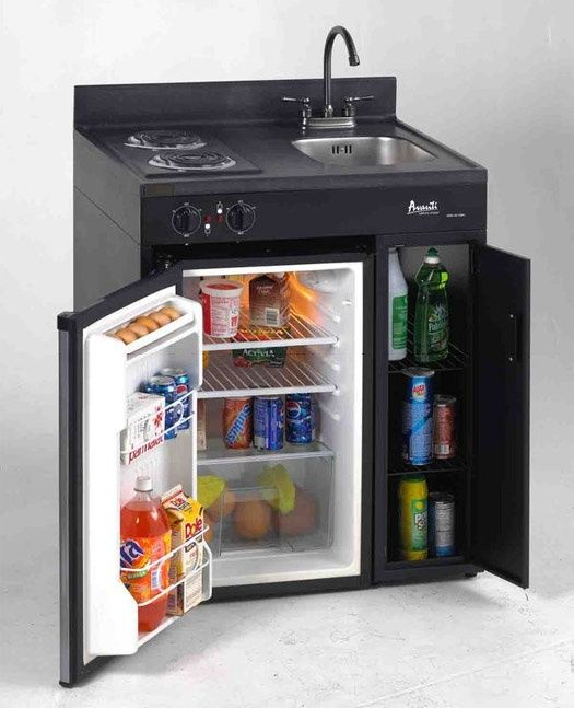 Avanti all-in-one stove, sink, shelf, & fridge! This would be great for an apartment over the garage.