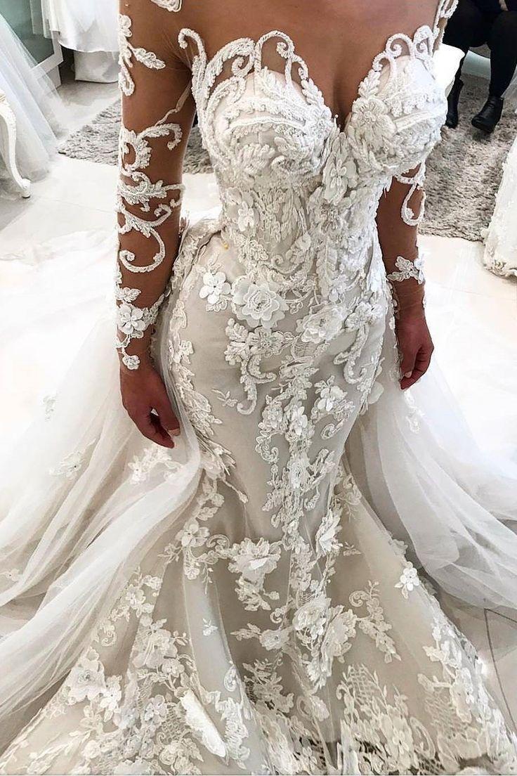 2018 Detachable Train Long Sleeves Scoop Mermaid Wedding Dresses With Applique T…