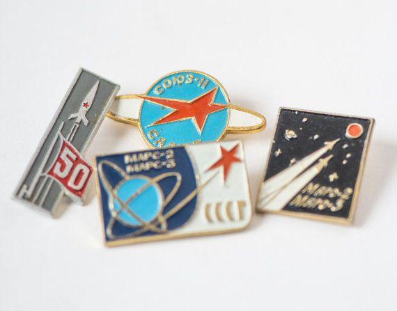 Soviet pins space program Soyuz 11 space station Mars by SovietEra, $19.00
