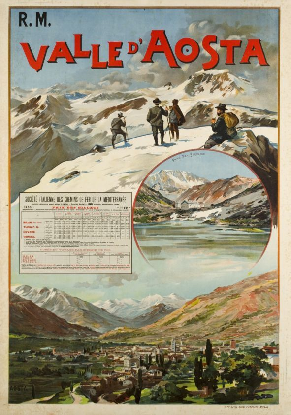1899 Valle d'Aosta vintage travel poster Italy