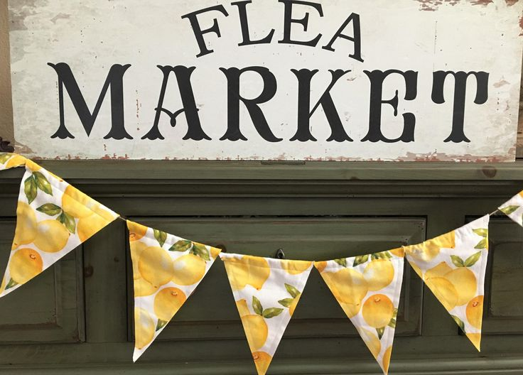 Vintage Look Lemon Flannel Fabric Flag Banner/Summer Decor/Lemons/Flannel/Yellow Lemons/Lemon Banner/Lemon Garland/Picnic Decor/Party Decor by OccasionalGoods on Etsy