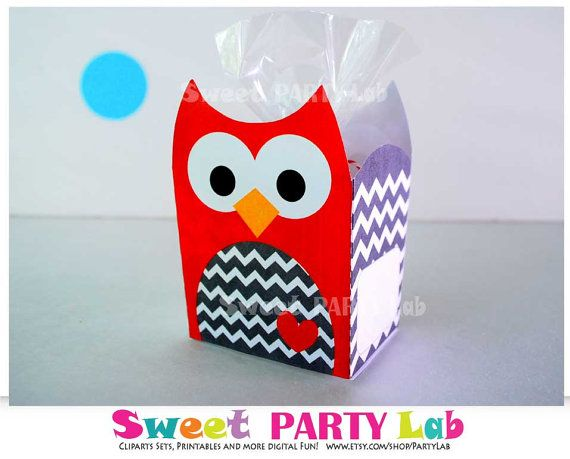 Owl Favor Box Red Owl Party Favor BoxChevron Printable by PartyLab, $5.00