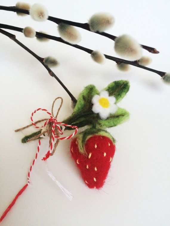 Felted Strawberry flower brooch pin Martisor by EcoPositive