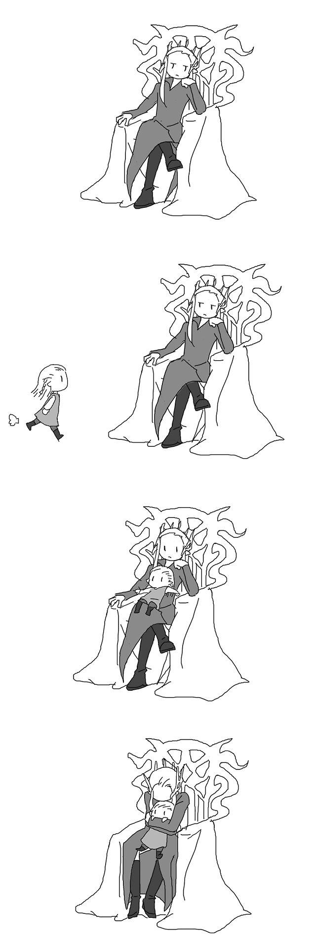 闇の森の親子 (The Father & Son of the Forest of Darkness), by ミサキアキ on Pixiv. Have the Mirkwood royalty always been this adorable?