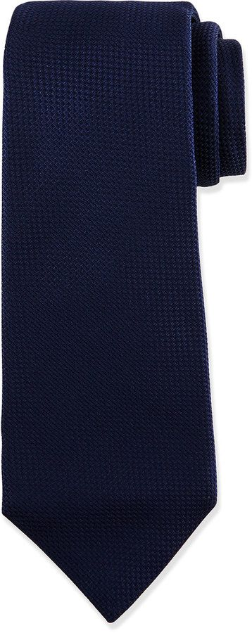 $295, Textured Solid Silk Tie Navy by Kiton. Sold by Neiman Marcus. Click for more info: http://lookastic.com/men/shop_items/135693/redirect