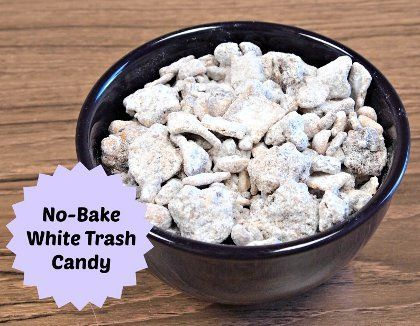 No Bake White Trash Candy - Similar to Puppy Chow, this addictive treat is made with peanuts, peanut butter, cereal, chocolate chips, raisins and powdered sugar. This simple snack recipe will become your new go-to dish for Game Day, or any time you're feeling that need for a sugar fix!
