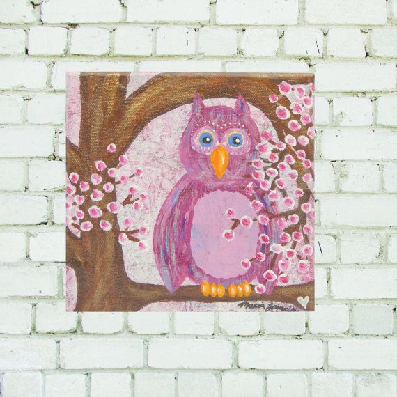 Pink Owl on Cherry Blossoms  6x6
