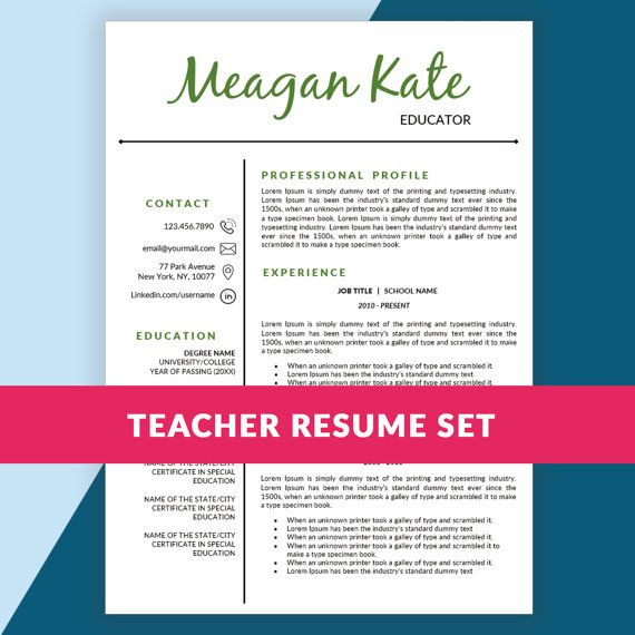 teaching resume template doc cover letter teacher elementary word samples in format download