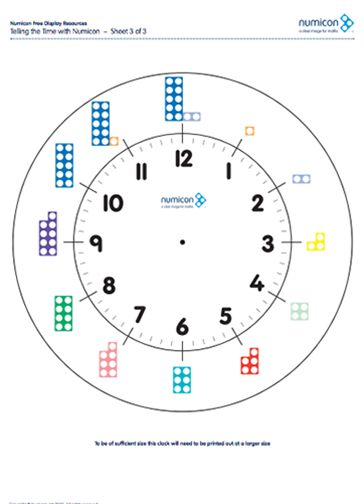 Here's a set of resources and activity ideas for using Numicon to teach telling time.