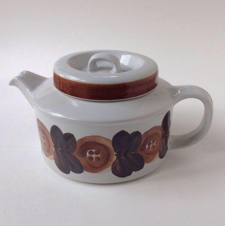 Vtg Arabia Finland Anemone Brown Teapot Ulla Procope Pottery 4 Cup Diffuser HTF