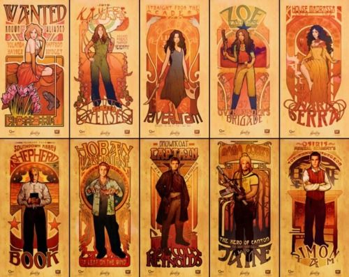 as-y0u-w1sh:    Firefly art nouveau posters by Megan Lara    auto-reblog because I am an art nouveau fanatic.