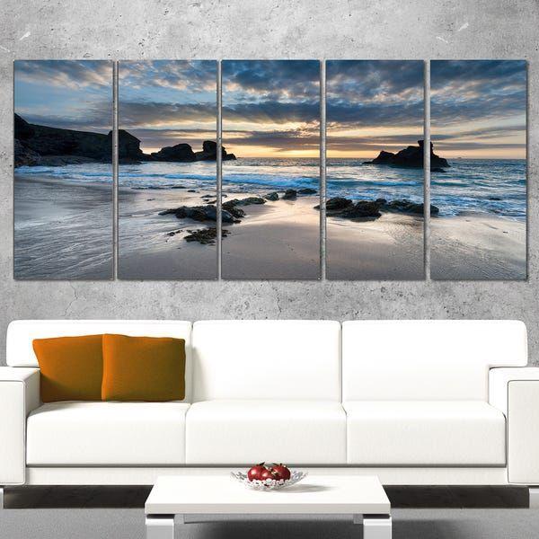 Beautiful Porthcothan Bay Seashore Canvas Art Print