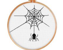 Spider Web cross stitch pattern, cross stitch pattern, silhouette cross stitch pattern, modern cross stitch pattern, pattern for beginners