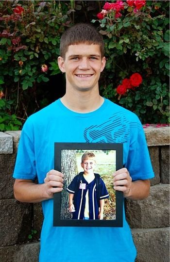 This photo of her son on his last day of high school posing with a photo of himself on his first day of kindergarten. You could use this same idea to have your child hold a photo of themselves from each first day prior.