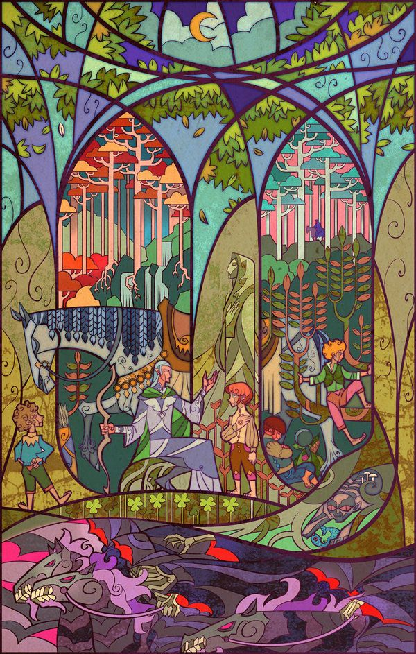 """Lord of the Rings stained glass: """"Rest in Gildor's Forest"""" by breathing2004"""