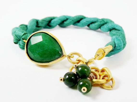 Green Jade Silk Turkish Bracelet  Teardrop Gold by LylaAccessories, $35.00