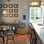 Giannetti Home - Cozy office with art gallery, burlap roman shades, industrial table & ...