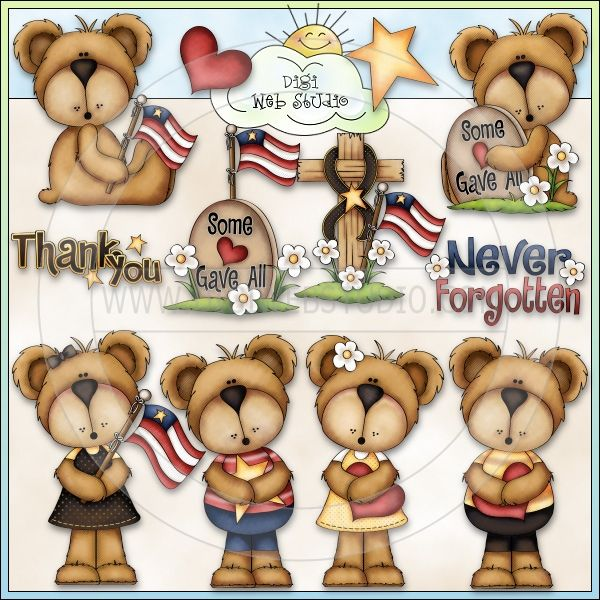 In Loving Memory Bears 1 - NE Trina Clark Clip Art - Click Image to Close