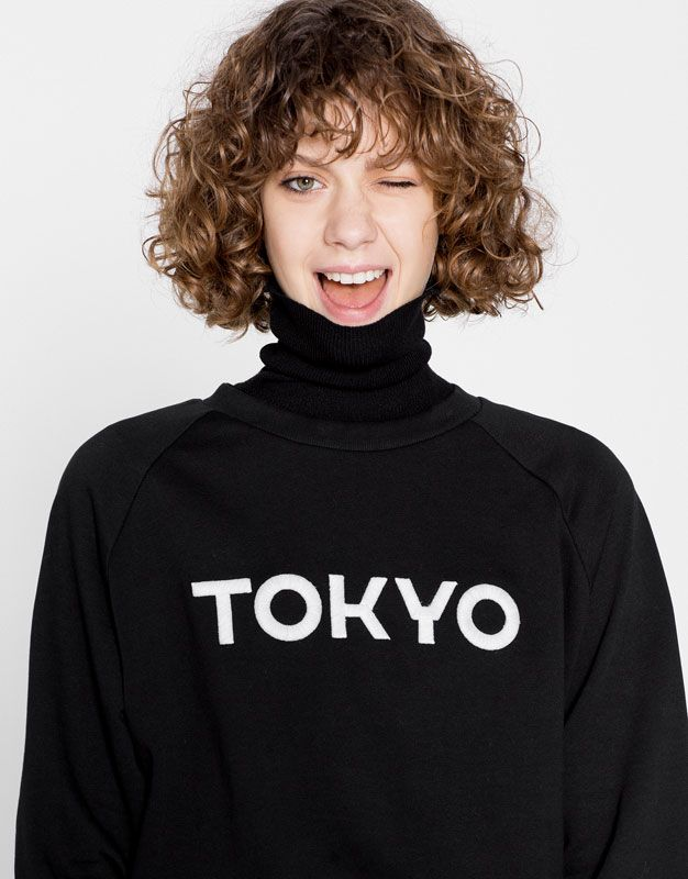 Pull&Bear – woman – sweatshirts – tokyo text sweatshirt – black…