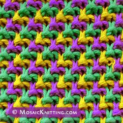 Easy slip-stitch pattern: Triple L Tweed stitch. This stitch pattern blends 3 different colors of yarn, yet you are only working with one color at a time.