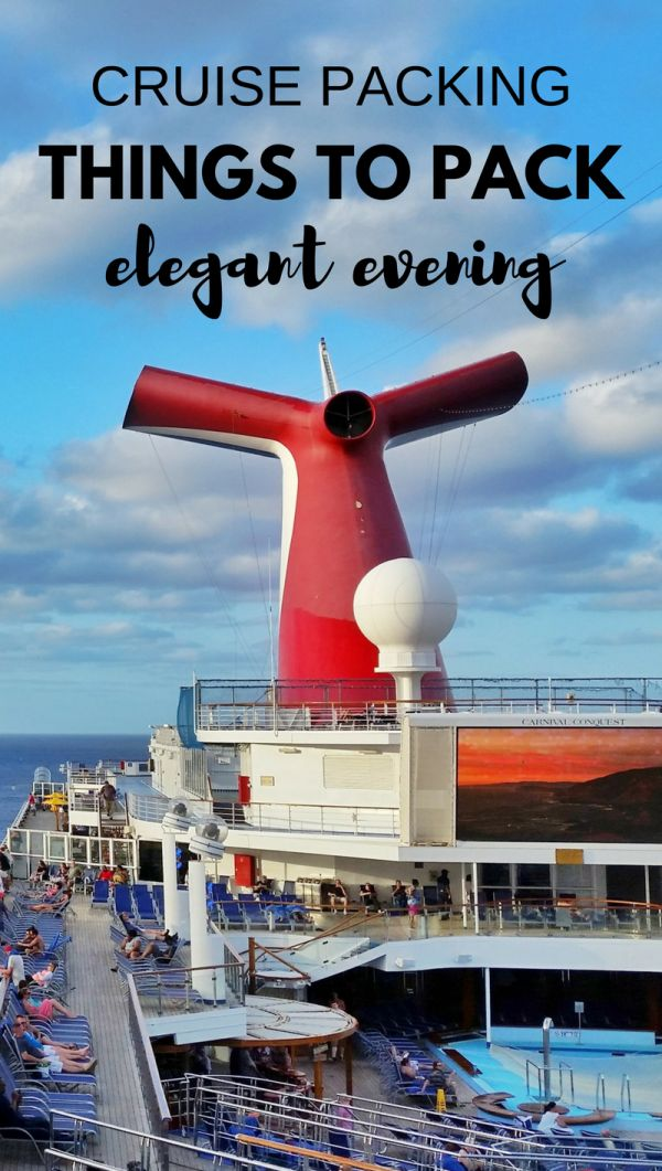 Cruise outfits and cruise packing tips: For cruise formal night dinner, ideas on what to wear on a cruise! Also with cruise line ideas for what to wear for women and for men. Cruise tips, whether it's a short itinerary or 7 day cruise in summer or winter, with things to maybe add to your cruise packing list! Picture is Carnival cruise ship at sunset leaving Cozumel cruise port in Mexico during western Caribbean cruise.