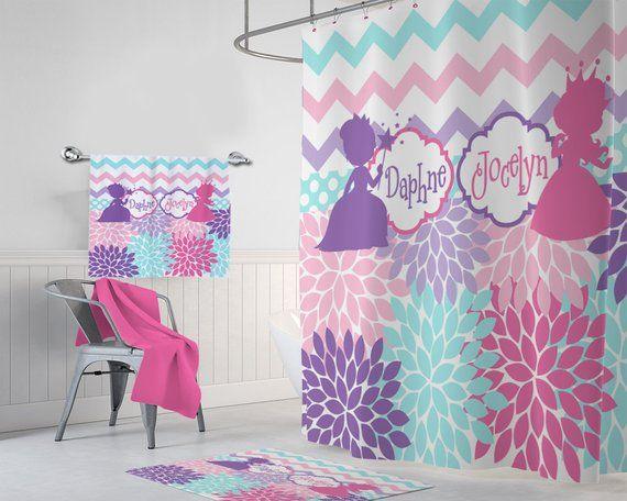 Princess Shower Curtain Sister Bathroom Princess Bathroom Girl