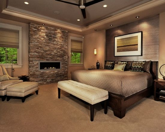like adding a wall of fireplace...Home Decor Contemporary Bedroom. ベッドルームのインテリアコーディネイト実例                                                                                                                                                                                 もっと見る