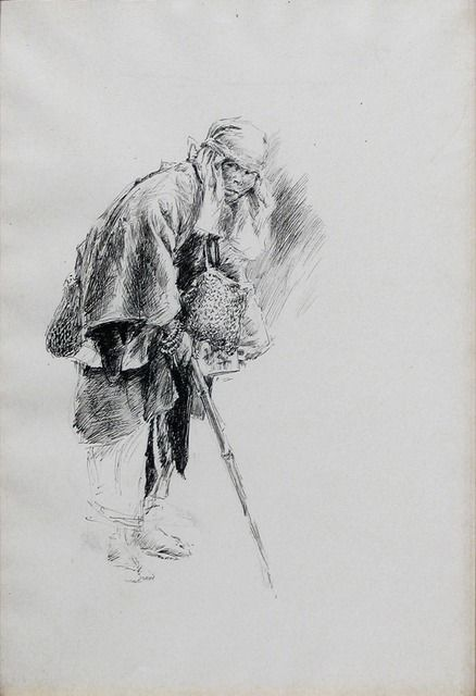 Available for sale from Menconi+Schoelkopf, Robert Frederick Blum, The Mendicant Priest  (1891), Pen and ink on paper, 14 7/16 × 10 in