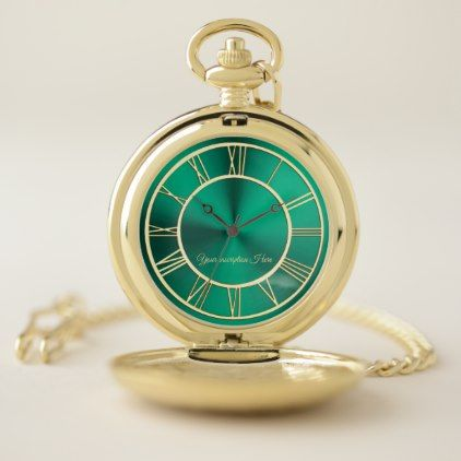 Teal Green and Gold Personalized Pocket Watch - accessories accessory gift idea stylish unique custom