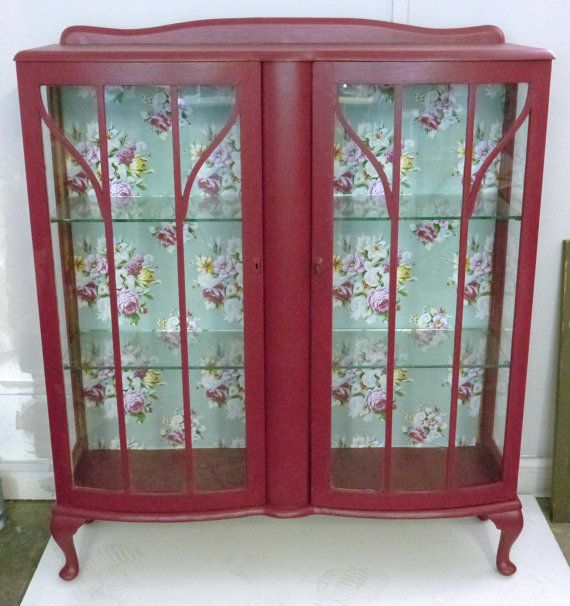 Pink Upcycled Display Cabinet with fabric back