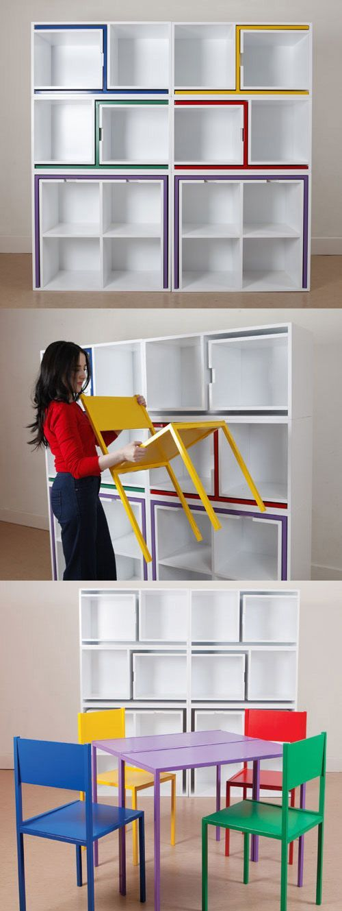 As if from Nowhere by Orla Reynolds what a great idea! love for the girls room. chairs and table that have hidden storage in the bookshelf.