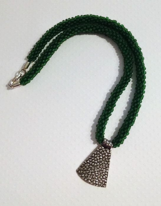 Dark Green Beaded Kumihimo Necklace with by JewelleryByJanine, £20.00
