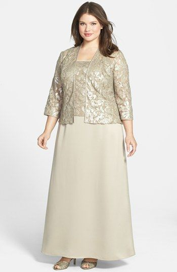 Alex Evenings Embellished Chiffon Gown & Jacket (Plus Size) | Nordstrom.....would love to find this in a dark red!