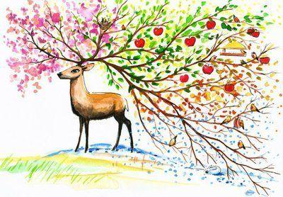 Naklejka na Ścianę Deer cztery sezony.