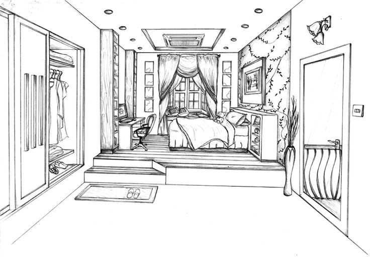 One point perspective perspective drawing and perspective for Bedroom designs sketch
