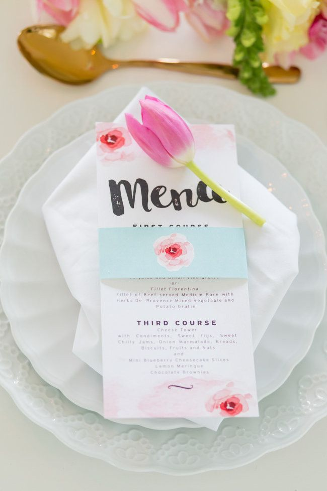 Blush Watercolor Wedding Ideas: Melissa from Pretty in Stains  designed the most gorgeous stationery using a brush lettered font. This brush lettered watercolor wedding menu with matching belly band is gorgeous! Adele Kloppers Photography http://www.confettidaydreams.com/blush-watercolor-wedding-ideas-brush-lettering/