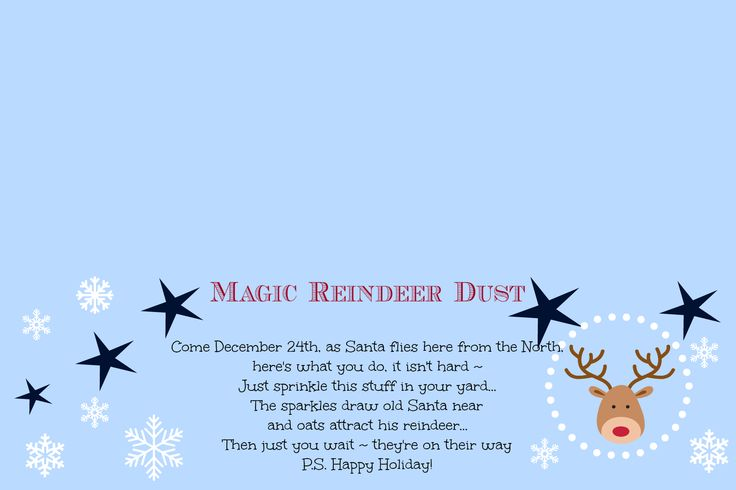 Magic Reindeer Dust ~ Poem and Free Printable | Cupcakes and Crinoline