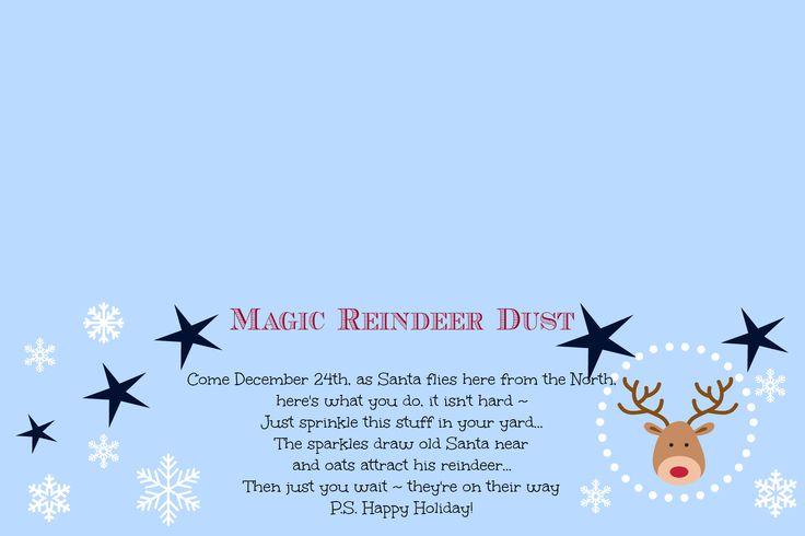Magic Reindeer Dust ~ Poem and Free Printable   Cupcakes and Crinoline