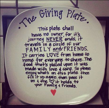 *The Giving Plate* I want to make this for my Families' White elephant gift exchange...fill it up with some cookies or something.