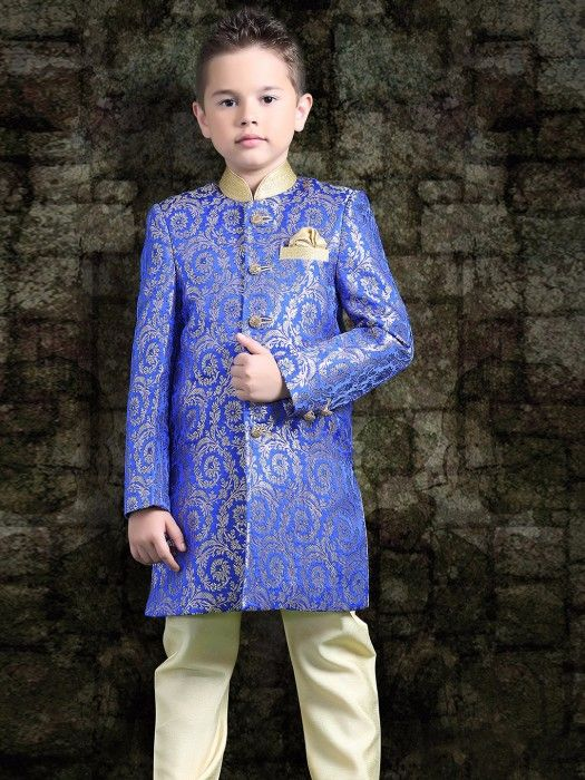 Shop Brocade blue designer indo western online from G3fashion India. Brand - G3, Product code - G3-BIW0315, Price - 4195, Color - Blue, Fabric - Brocade,