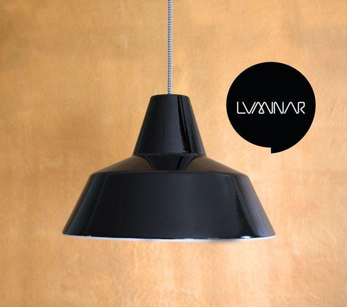 Schwarze Industrielampe Werkstattlampe Emaille von luminar auf DaWanda.com