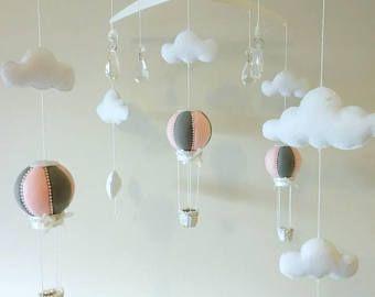 Hot Air Balloon Baby Girl Mobile - Hot Air Balloon felt Mobile - Crystal Mobile - Suncatcher - Cloud Mobile - Pink & Grey Nursery