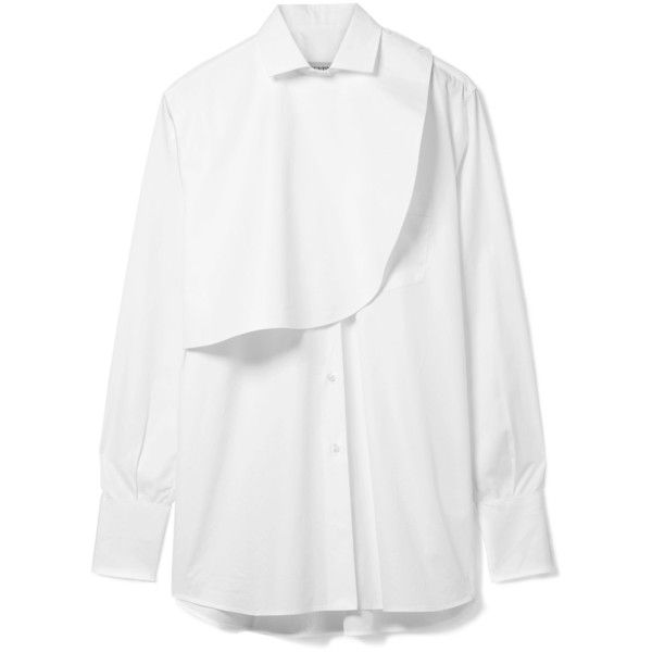 Valentino Layered cotton-poplin shirt ($850) ❤ liked on Polyvore featuring tops, shirts, white, folding shirts, white button-down shirts, military style shirts, structured white top and fold button down shirt