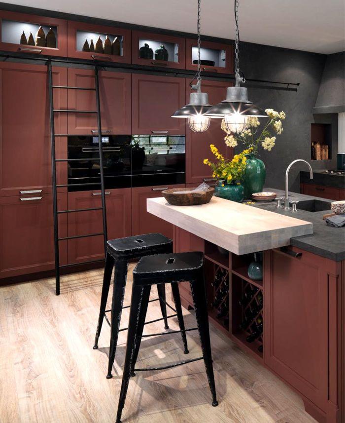 cocinas con barra, cocina en estilo industrial, tonos oscuros ...