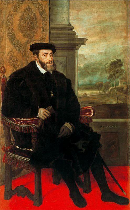 Carlos I de España y V de Alemania, retratado por Tiziano, 1548