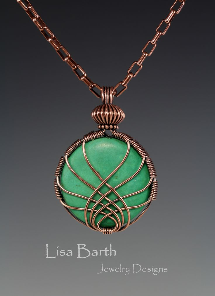 Here is a pendant I made one night just to blow off some steam.  It is a simple criss cross wrap but it was challenging to get both sides to match.  The back is finished too.--Lisa Barth