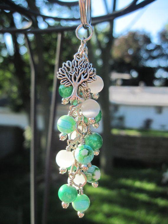 Millefiori Green and White Glass Beaded Purse Charm / Key Chain / Car Mirror Dangle by FoxyFundanglesByCori, $10.00