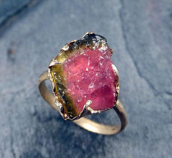 Raw Rough Uncut Watermelon Tourmaline Gold Ring Bi Color Ring green Pink Gemstone Crystal 14k recycled byAngeline