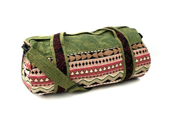 Green Canvas Duffle Bag for Men Women Native by Tribalover on Etsy