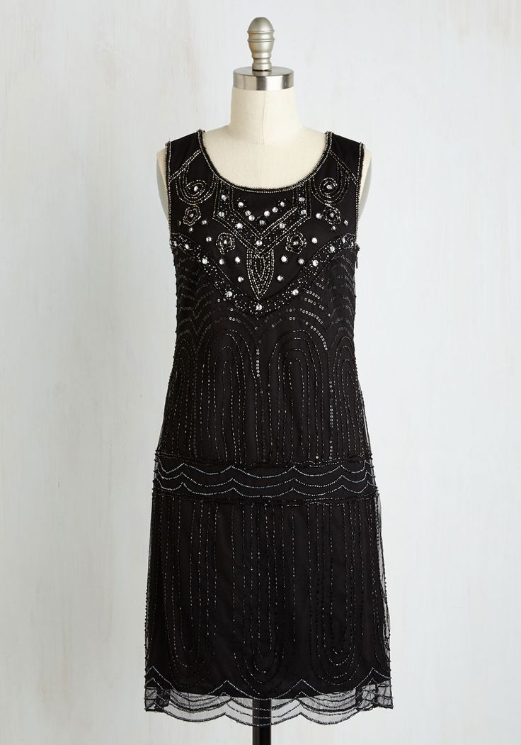 Philharmonic of Time Dress in Black. As the music hall dims and the conductor glides onstage, you make a dazzling entrance in this beaded dress! #black #modcloth